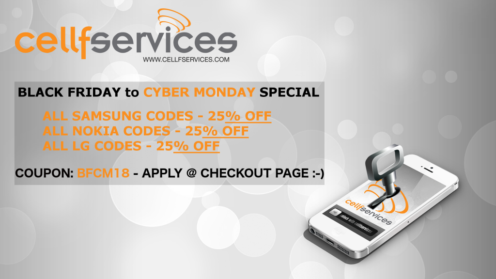 Cellfservices Black Friday Cyber Monday Special